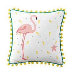Flamingoroze katoenen kussen met ...