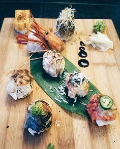 aburi sampler  my favourite stays as is: the basil ebi . . #food #foodig #instafood #vscocam #vancouverfood #vancouvereats #yvrfood #food52gram #foodporn #vcbfood #gastropost #buzzfeast #sushi #nigiri #aburi #japanesefood #japanese #thecameraeatsfirst #vancouverfoodie by hyrix