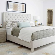 Zephyr Panache Fabric Upholstered Bed in Quartz