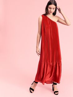 50% OFF for a limited time .. Chelsea Pleated Gown | Pleated gown featured in a one-shoulder silhouette.    * Solid hem   * Pull-over style   * Oversized fit   * Lined