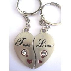 """Couple Love Keychain Key Ring Two Pieces of Heart """" True Love"""", w/ Magnetic Power"""