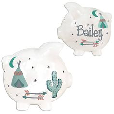 TeePee Piggy Bank Personalized Hand Painted Arrow Piggy Banks Southwest Aztec Nursery Cactus Tee Pee Coral Mint Gold Arrows tent Baby PIGGTP