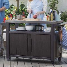 38 Best Ideas for backyard bbq table set up Outdoor Patio Bar Sets, Outdoor Buffet, Outdoor Living, Outdoor Patios, Outdoor Tables, Outdoor Storage Units, Table Storage, Storage Cart, Storage Sheds