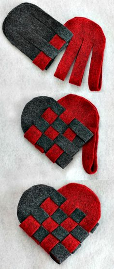 To make from paper or felt, a classic woven heart design.
