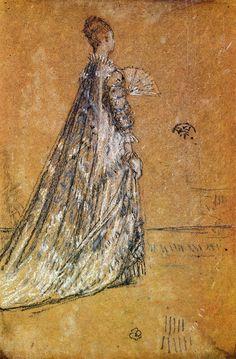 "impressionism-art: "" The Blue Dress 1871 James McNeill Whistler "" James Mcneill Whistler, Illustrations, Illustration Art, Toned Paper, Piet Mondrian, John Singer Sargent, Canadian Art, Impressionism Art, Art Database"
