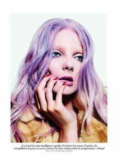 Eniko Mihalik by Mario Sorrenti for Vogue Paris Purple hair Lavender Hair, Lilac Hair, Pastel Hair, Mario Sorrenti, Blond, Violet Ombre, Grey Ombre, Creative Hair Color, Helmet Hair