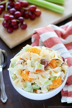 Your next BBQ cries out for this Tropical Chicken Bowtie Pasta Salad! It's easy, with few ingredients and has both sweet and savory elements and textures, making it a great side dish. Easy Pasta Salad Recipe, Healthy Salad Recipes, Pasta Recipes, Summer Pasta Salad, Cold Pasta, Soup And Salad, Pasta Dishes, Mandarin Oranges, Olivier Salad
