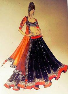 sketches for anarkalis Fashion Design Sketchbook, Fashion Design Drawings, Fashion Sketches, Clothing Sketches, Dress Illustration, Fashion Illustration Dresses, Ethnic Fashion, Fashion Art, Fashion Models