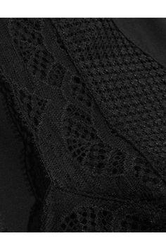 Hanro - Eleonora Leavers Lace-paneled Stretch-jersey Bodysuit - Black - x small