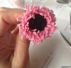Цветок Герберы, керамическая флористика, мастер класс, часть 1 - Цветы из…