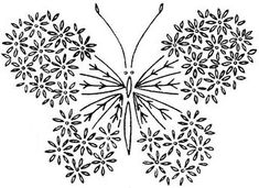 Vintage Embroidery Designs butterfly embroidery pattern Borboleta Mais - Love this! Not only is it beautiful but so easy with the lazy daisy stitch. French Knot Embroidery, Hungarian Embroidery, Butterfly Embroidery, Embroidery Transfers, Embroidery Patterns Free, Learn Embroidery, Hand Embroidery Stitches, Silk Ribbon Embroidery, Crewel Embroidery