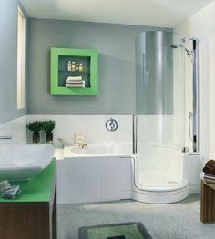 Twin Line Walk In Bathtub And Shower Combouniversal Design Style Walk In Shower And Tub Combo