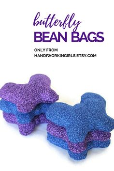 Pretty purple and royal blue make our butterfly-shaped bean bags perfect for spring birthday parties: https://www.etsy.com/listing/164504555/butterfly-bean-bags-shaped-deep-purple