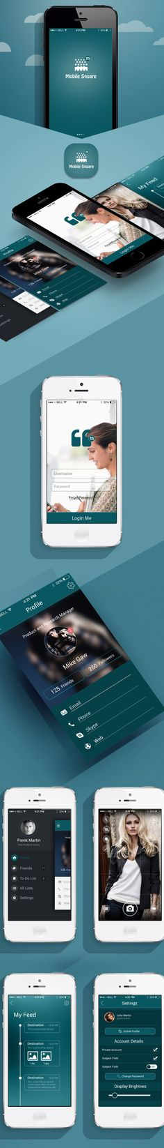 Mobile Square App UI psd Freebies