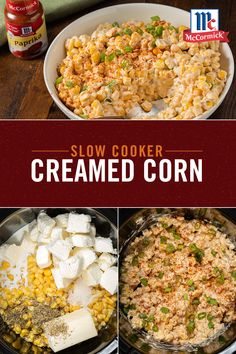 This Slow Cooker Creamed Corn recipe is going to be the new star of your Thanksgiving day table. It's prepped and cooked right in the slow cooker, so you can spend less time at the stove and more time with guests. Slow Cooker Creamed Corn, Crock Pot Slow Cooker, Crock Pot Cooking, Slow Cooker Recipes, Crockpot Recipes, Cooking Recipes, Corn Recipes, Side Dish Recipes, Vegetable Recipes