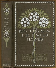"""How to Know the Wild Flowers  covere designed by Margaret Armstrong Silver, instead of the usual gold, is used on the brown cloth, with green and white stampings for flowers. a variation of Armstrong's """"dot and dash"""" border is used here."""