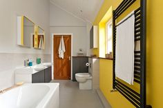 How To Get A Trendy And Refreshing Gray And Yellow Bathroom ➤To see more Luxury Bathroom ideas visit us at www.luxurybathrooms.eu #bathroom #homedecorideas #bathroomideas @BathroomsLuxury
