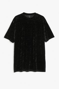 Monki Image 1 of Velvet tee  in Black