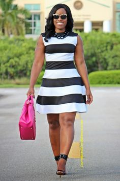Curves and Confidence | Inspiring Curvy Women One Outfit At A Time: Fit and Flare: Bold Stripes