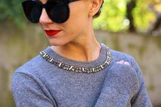 Sweater: Equipment. Sunglasses: Karen Walker 'Super Duper'. Lips: Stila 'Beso'.
