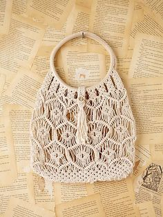 Vintage Macrame Handbag | Vintage crochet macrame handbag with circle handles. Button closure.