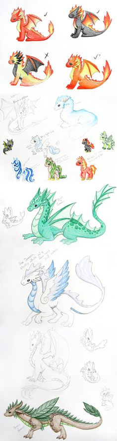 Spent yesterday doing some quick concepts of elemental dragon and pony designs. I really don't tend to draw out most of my creatures beforehand. Normally I just sorta grab a color and figure it out...