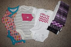 Baby onesies and burp cloths