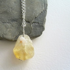 Raw Citrine Necklace Natural Stone Jewelry Chunk by cindylouwho2, $29.00