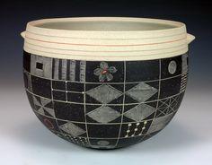 """Debra Oliva Sampler Bowl 8""""x9""""x9"""" Black & Natural Stoneware"""