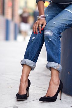 Ripped jeans heels