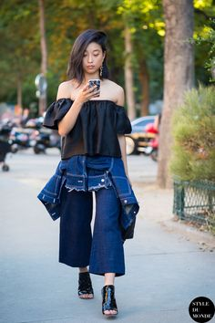 Haute Couture Fall 2015 Street Style  Margaret Zhang. Denim CulottesBlack  ... 6476a8f95857