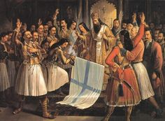 """""""Greeks celebrate the War of Independence against the Ottoman Empire. The """"Greek Revolution"""" was a successful war of independence waged by the Greek revolutionaries between 1821 and Patras, Greek History, Modern History, Family History, Greek Independence, Fall Of Constantinople, Die Revolution, Benaki Museum, Greek Warrior"""