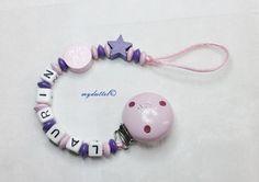 Schnullerkette Kleine Diva Stern Motiv Baby md324 von myduttel auf DaWanda.com