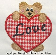 Bear and Applique Heart - 3 Sizes! | Words and Phrases | Machine Embroidery Designs | SWAKembroidery.com Abigail Michelle