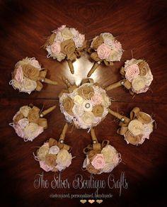 Burlap Bouquet Wedding Burlap Bouquet by silverboutiquecrafts, $272.00