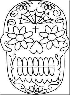 calacas para colorear   Dibujo para colorear de calaveras de día de muertos