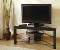 Convenience Concepts TV-01 Wood and Glass TV Stand for Flat Panel TV is up to 46-Inch or 80-Pounds