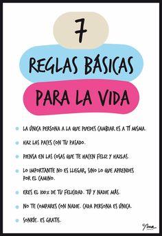 Nos encontramos estas 7 reglas básicas para la vida, qué te parecen? #Lunes #Actitud #Felicidad #Motivación #ViveEquilibradamente #Naox