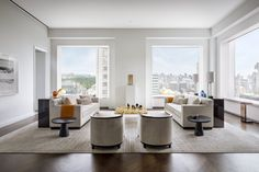 Living room in the model suite at 432 Park Avenue (Photography by Scott Frances)