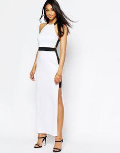 Image 1 ofASOS Mono Halter Cut Out Maxi Dress