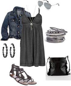 Jacket, dress, sandals, bracelets, necklace