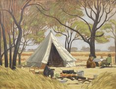 Jacob Hendrik Pierneef (South Africa The Bush Camp of Anton van Wouw, Rooiplaat oil on canvas 51 x 66 cm South Africa Art, Anton Van, African Paintings, Contemporary African Art, South African Artists, Stone Mosaic, Spring Sale, New Art, Pictures