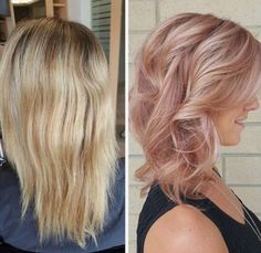 Irresistible Rose Gold Hair Color Looks – My hair and beauty Hair Color And Cut, Cool Hair Color, Ombré Hair, New Hair, Hair Dye, Prom Hair, Cabelo Rose Gold, Rose Gold Blonde, Rose Blonde Hair