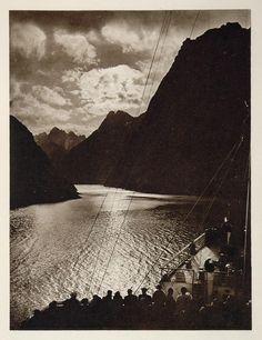 1931 Trollfjord Lofoten Norway Norge Fjord Photogravure - ORIGINAL NW1