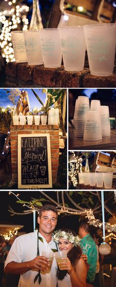 For their Hawaii wedding reception, Kehau and Joey used 20 ounce frosted shatterproof cups personalized with a sea shell design, their names, and wedding date on one side and the calligraphy design 'To Love, Laughter and Happily Every After on the other side. They set up a gorgeous drink station complete with chalkboard sign encouraging guests to take a cup and keep as a souvenir. These cups can be ordered at http://myweddingreceptionideas.com/20_oz_shatterproof_frosted_plastic_cups.asp
