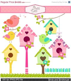 ON SALE Birds and Birdhouse clip art bird clip art by petittatti