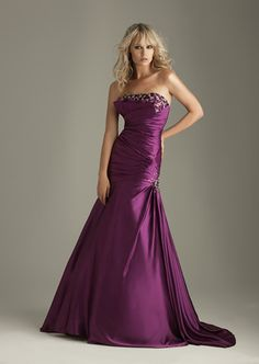 Online Sale 2012 Beaded Neckline Satin Sweep Train Evening Dresses (CED-164)