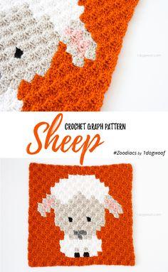 Free crochet pattern: Zoodiacs Dragon in c2c (corner-to-corner) crochet by One Dog Woof