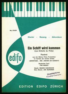 EIN SCHIFF WIRD KOMMEN - AUS DEM FILM NEVER ON SUNDAY - 1960 - ORIG. MUSIKNOTE