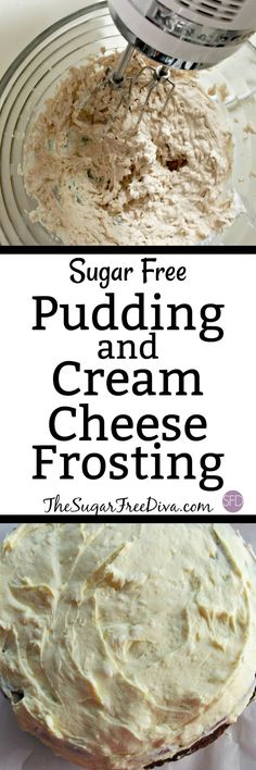 Sugar Free Pudding and Cream Cheese Frosting- Pudding Frosting is so yummy and this recipe is for a sugar free pudding frosting that is so easy to make too! Great dessert or snack idea.
